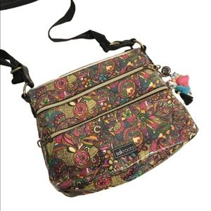 NWOT SakRoots floral psychedelic cross body bag